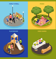 family playing concept icons set vector image
