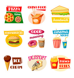 Fast food icons of sandwich drink and snack vector