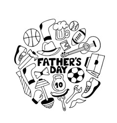 father s day doodle greeting card men s sports vector image