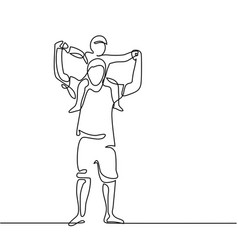 Father with son on shoulders vector