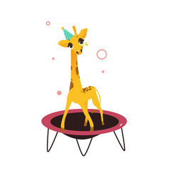 Flat giraffe jumping on trampoline vector