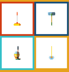 Flat icon mop set of cleaner mop besom and other vector