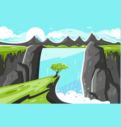 Flat waterfall with tree on green plain and vector