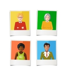 four different polaroid instant photos with flat vector image