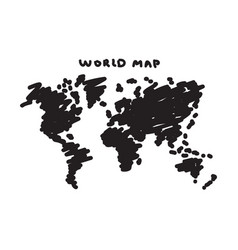 Freehand drawing style of world map vector