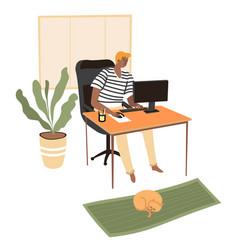 freelancer working on computer student preparing vector image