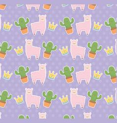 funny llama peruvian and cactus kawaii characters vector image