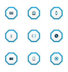 gadget icons colored set with tablet smartphone vector image