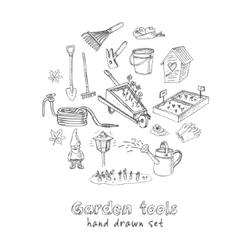 Garden tools doodle set Various equipment vector