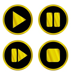 Gold play pause stop forward buttons vector
