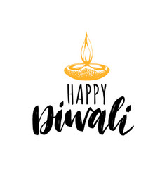 happy diwali hand lettering on white background vector image