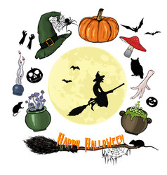 happy halloween graphic set halloween collection vector image