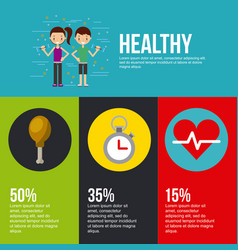 healthy lettering infographic with related icons vector image