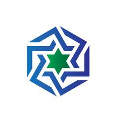 Hexagon star business logo vector