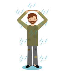 Homeless man standing in rain vector