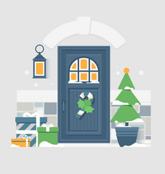 house door decoration for christmas holidays vector image