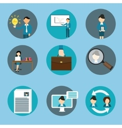 human resource management business icon set vector image