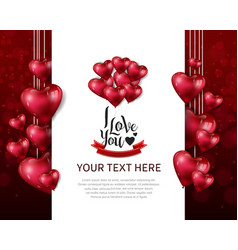 I love you design with hanging heart balloon red vector