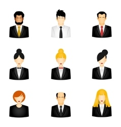 Icons of business people vector image