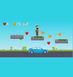 Interface 8 bit game pixel art platformer level vector