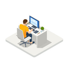 isometric business man working at home with laptop vector image