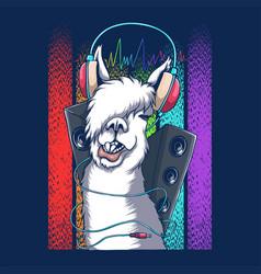 Llama headphone dj retro vector