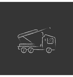 Machine with a crane and cradles Drawn in chalk vector