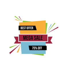 mega sale banner template discount up to 75 image vector image