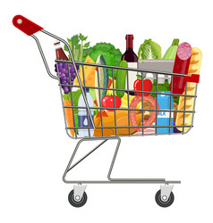 Metal shopping cart full of groceries products vector
