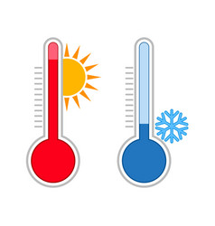 Meteorology thermometers measuring hot and cold vector