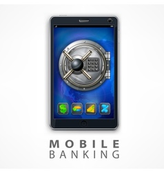 Mobile banking safety vector