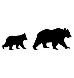 mom bear with her child black and white vector image