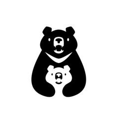 moon black bear mom sun cub kids parent hug logo vector image