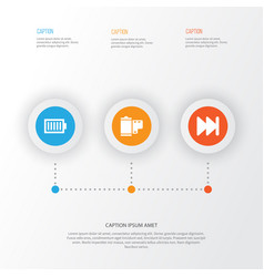 Music icons set collection of photo full battery vector