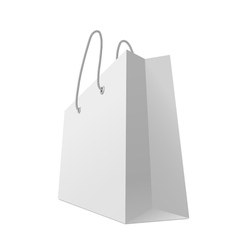 One classic white shopping bag isolated on white vector