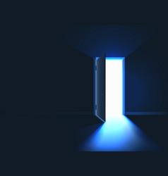 open door bright light in room through open door vector image