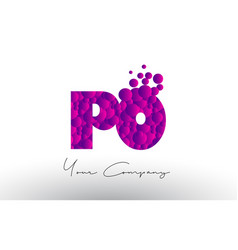 Po p o dots letter logo with purple bubbles vector