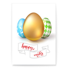 poster with eggs for celebration of happy easter vector image