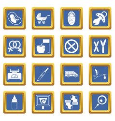 pregnancy symbols icons set blue vector image