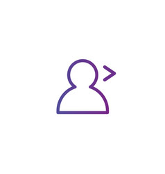 purple linear outline person icon with arrow user vector image