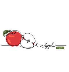 Red apple one continuous line vector