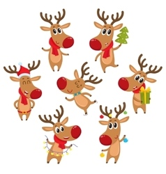 Rudolf reindeer with Christmas tree gifts vector