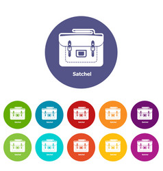 Satchel bag icons set color vector