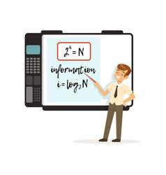 Schoolboy standing in front an interactive vector