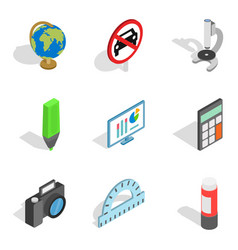 Schooling icons set isometric style vector