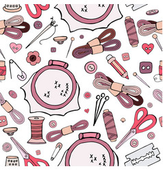 seamless pattern of different objects for sewing o vector image
