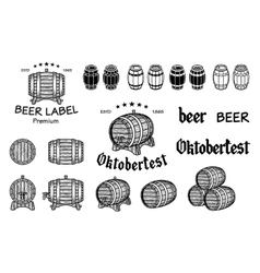 Set of barrels in vintage style Collection vector