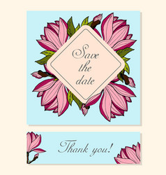 Set of cards with magnolia floral motifs vector