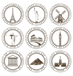 Set of Icons Travel and Sightseeing vector