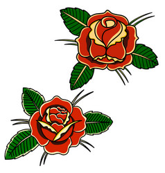 Set roses in old school tattoo style design vector